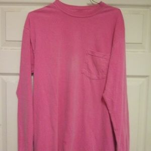Long sleeve distressed pink tee shirt